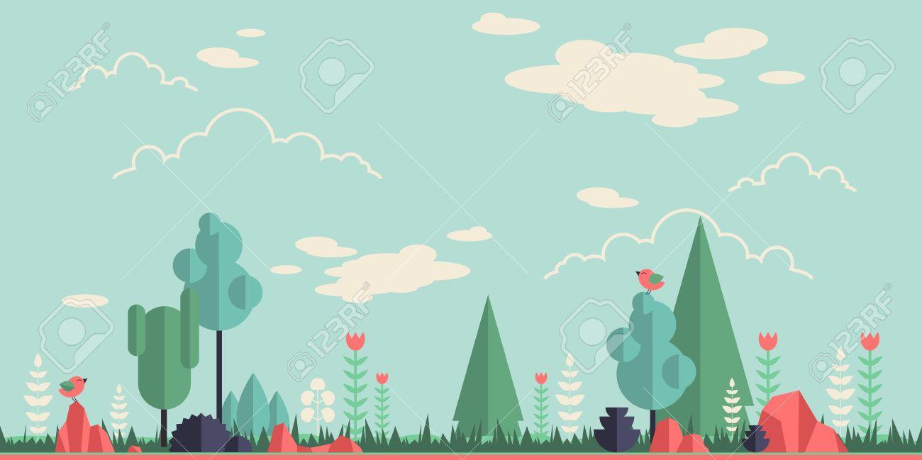 夏の森のフラット背景あなたのデザインのシンプルでかわいい風景の