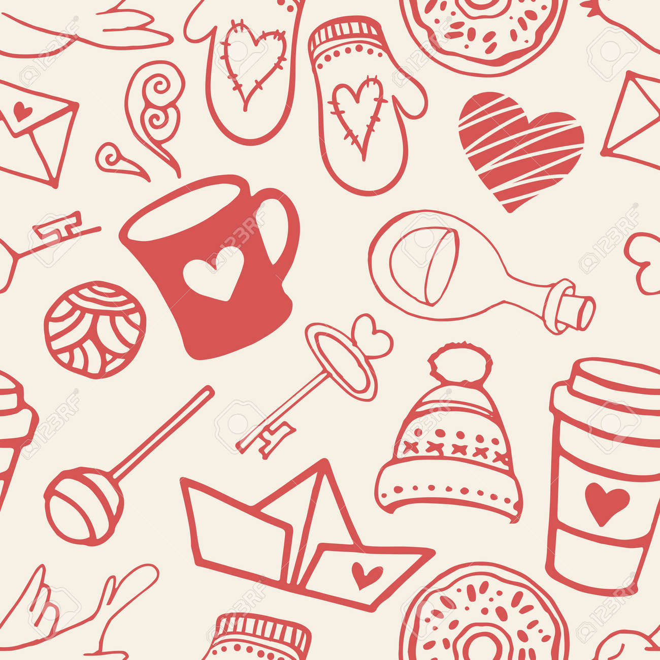 Seamless Pattern With Valentine S Day Symbols Love Background