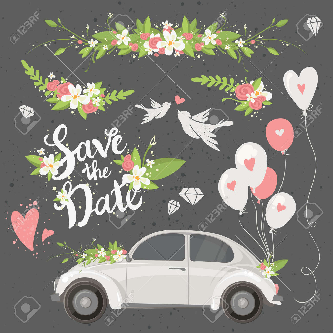 Schone Hochzeit Cliparts Mit Retro Auto Blumen Luftballons Tauben