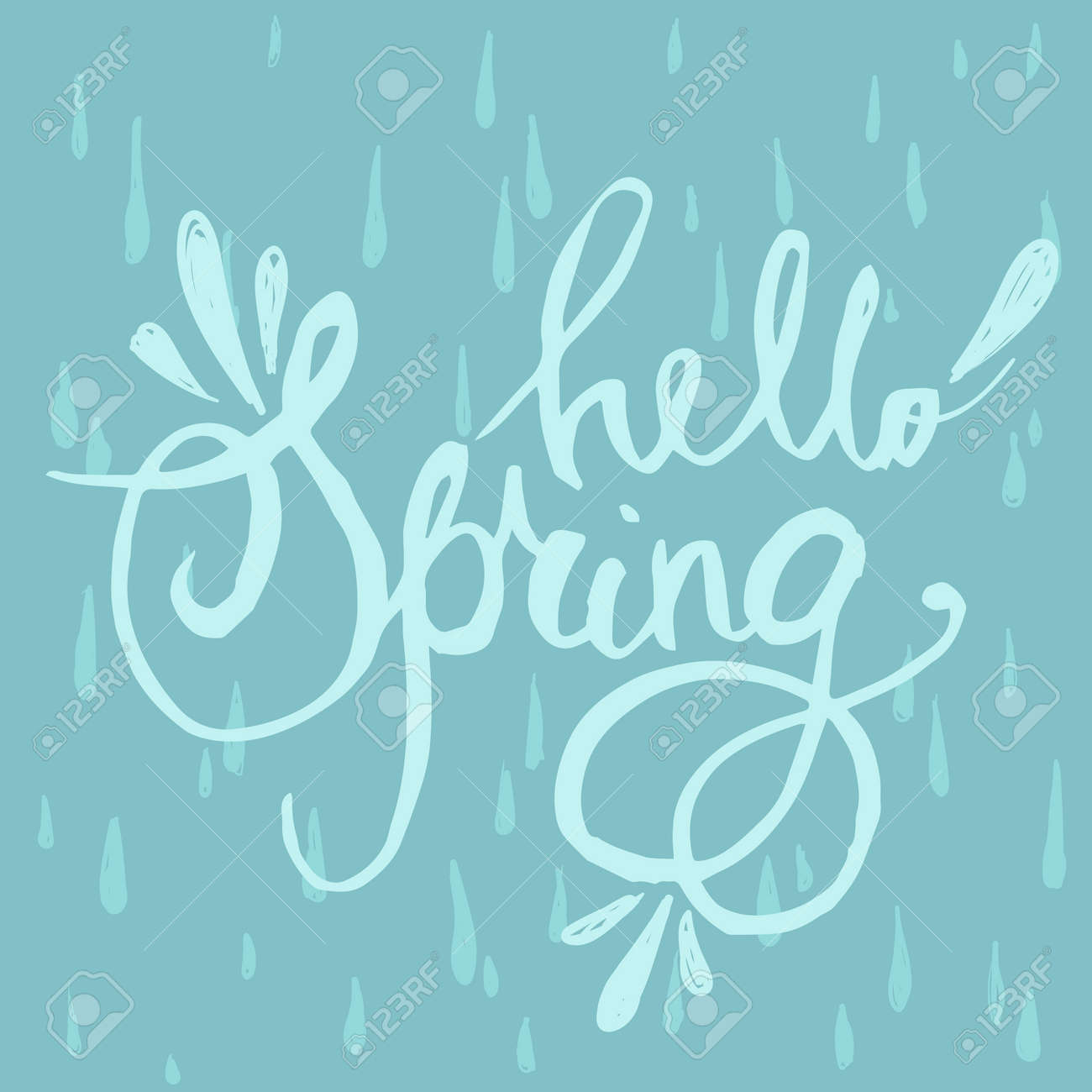 hand lettering hello spring brush pen isolated lettering quote