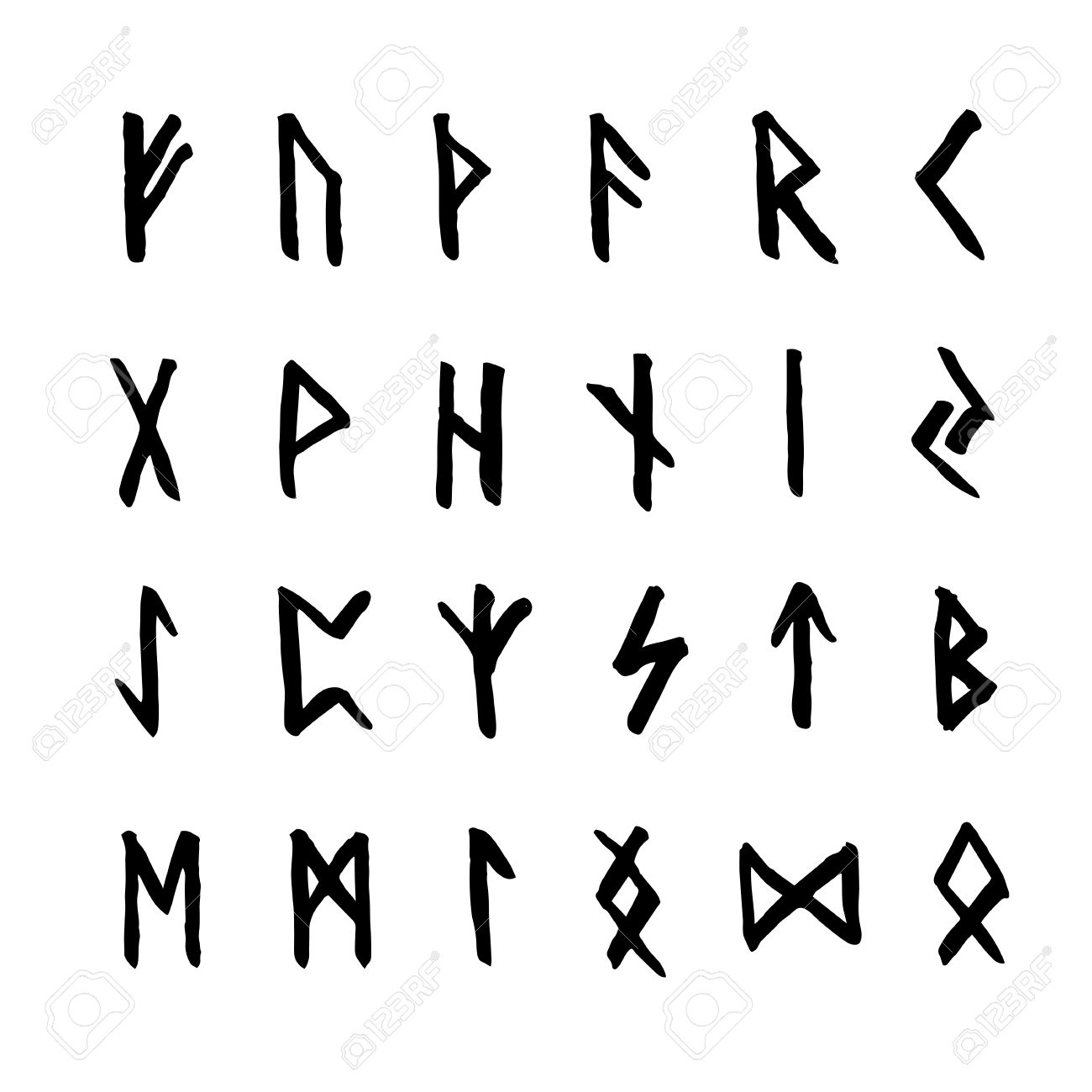 Set of ancient old norse runes runic alphabet futhark 24 magic symbols set of ancient old norse runes runic alphabet futhark 24 scandinavian and buycottarizona Choice Image