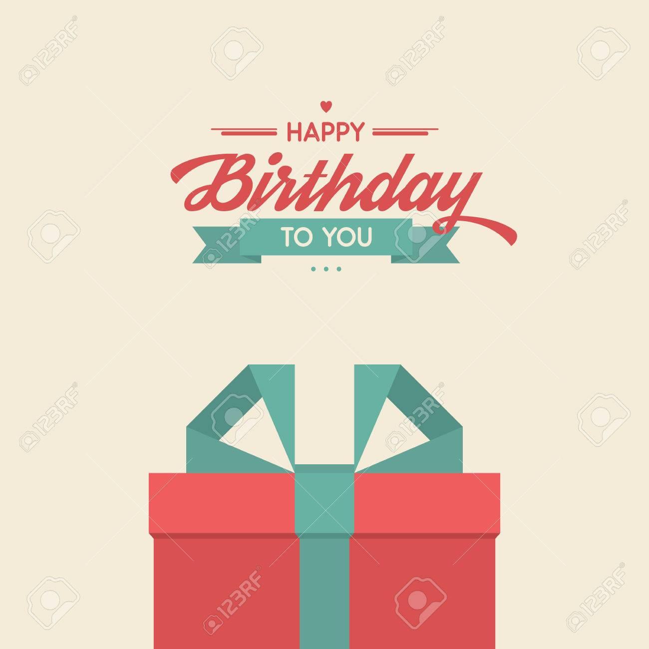 Alles Gute Zum Geburtstag Retro Vektor Illustration Mit Geschenken
