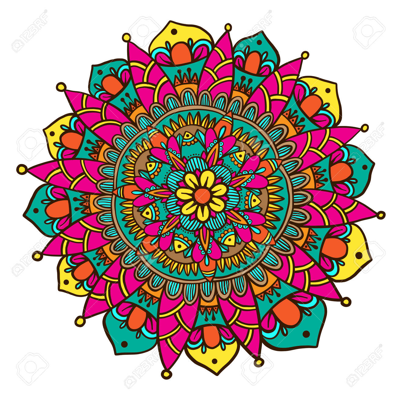 hand drawn flower mandala decorative round ornament henna design