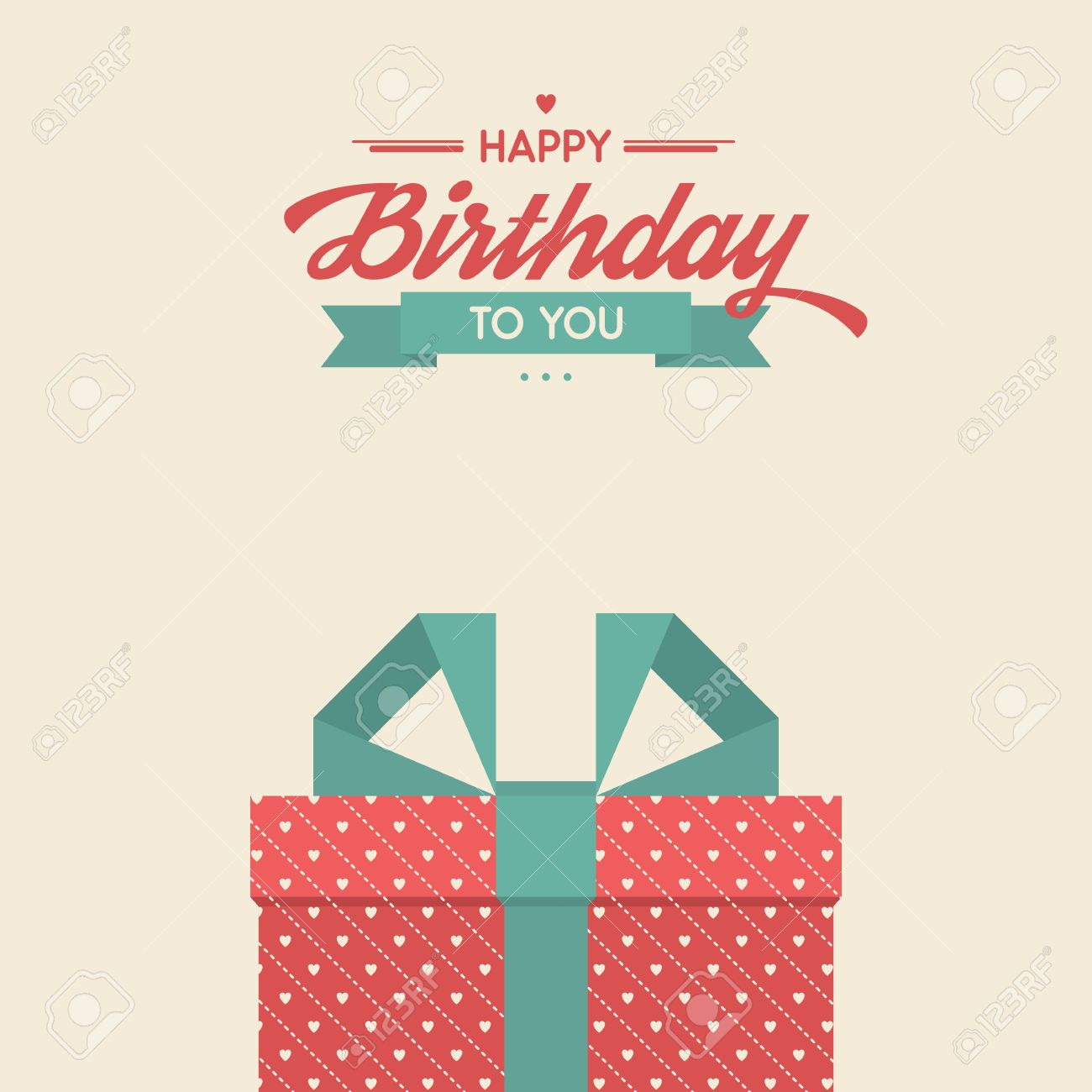Happy Birthday To You Retro Vector Illustration With Gifts Vintage Background Beautiful Lettering