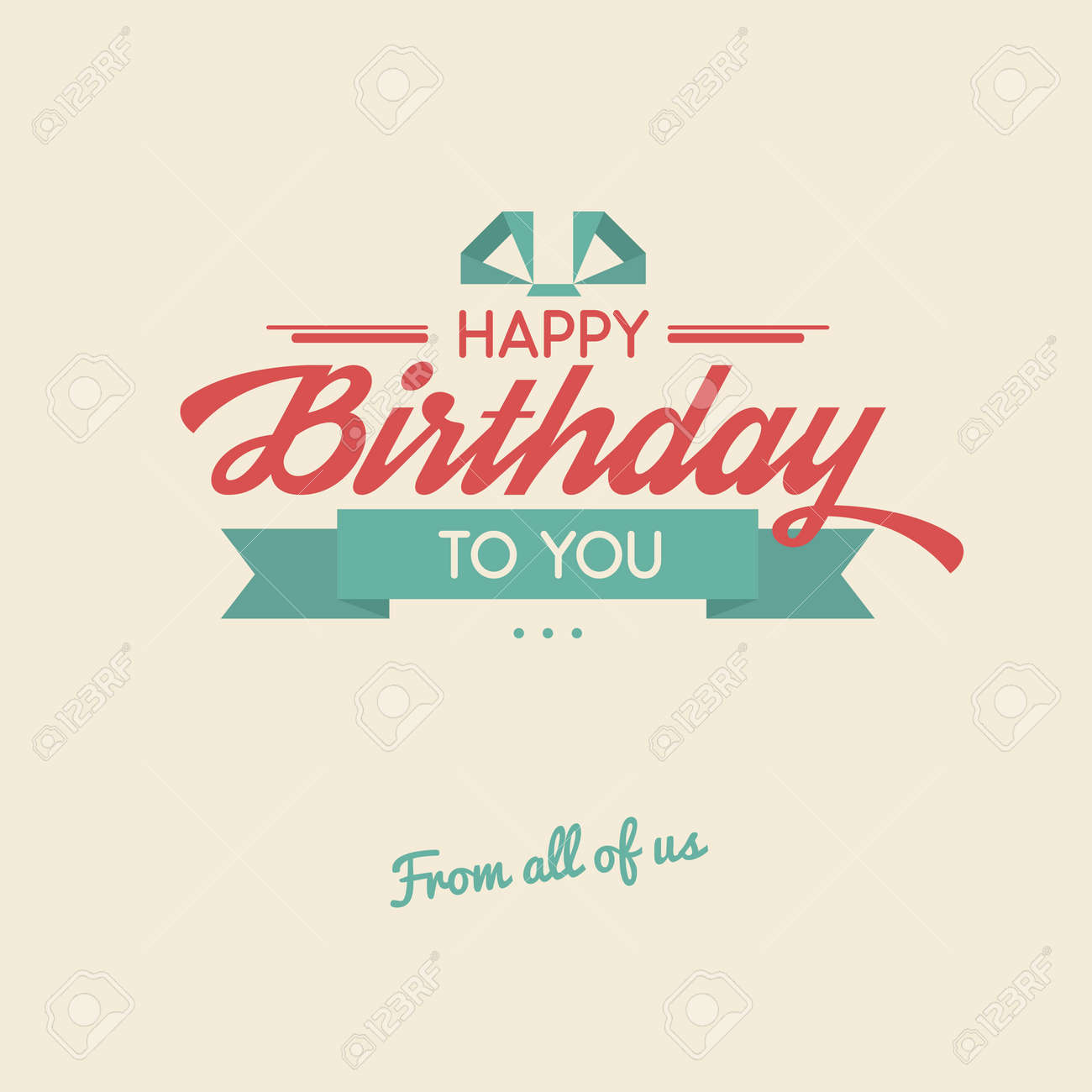 Happy Birthday To You Retro Vector Illustration Vintage Background Beautiful Lettering Greeting Card