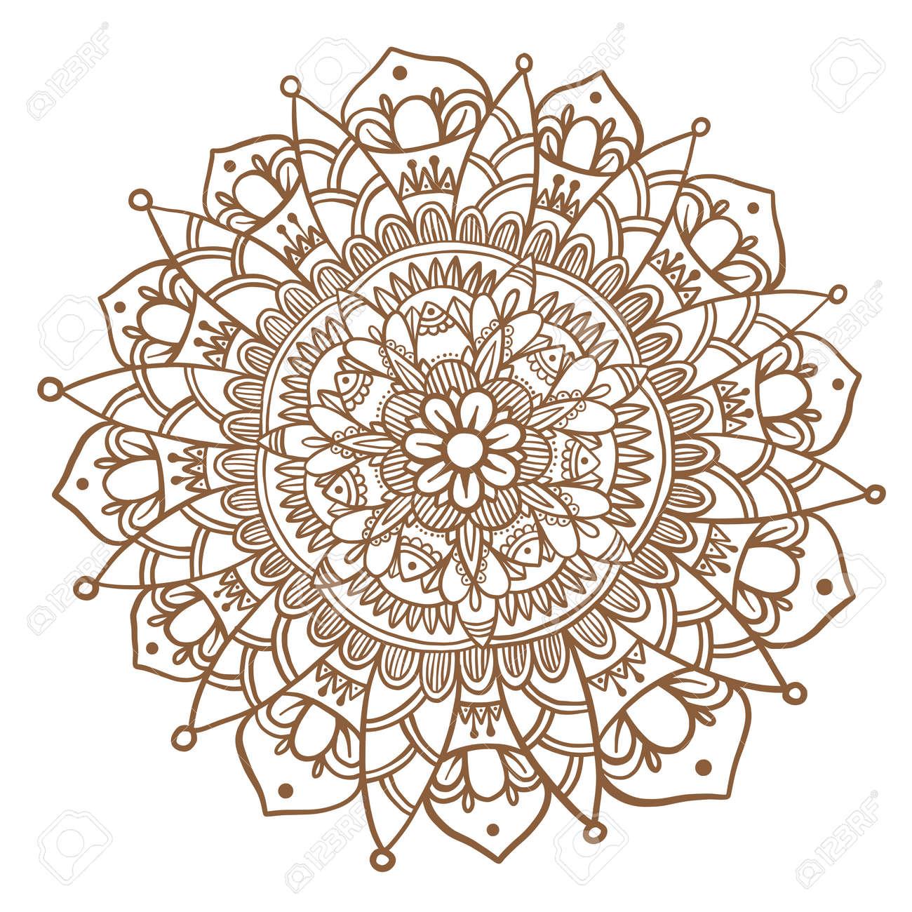 Hand Drawn Flower Mandala Decorative Round Ornament Henna Design
