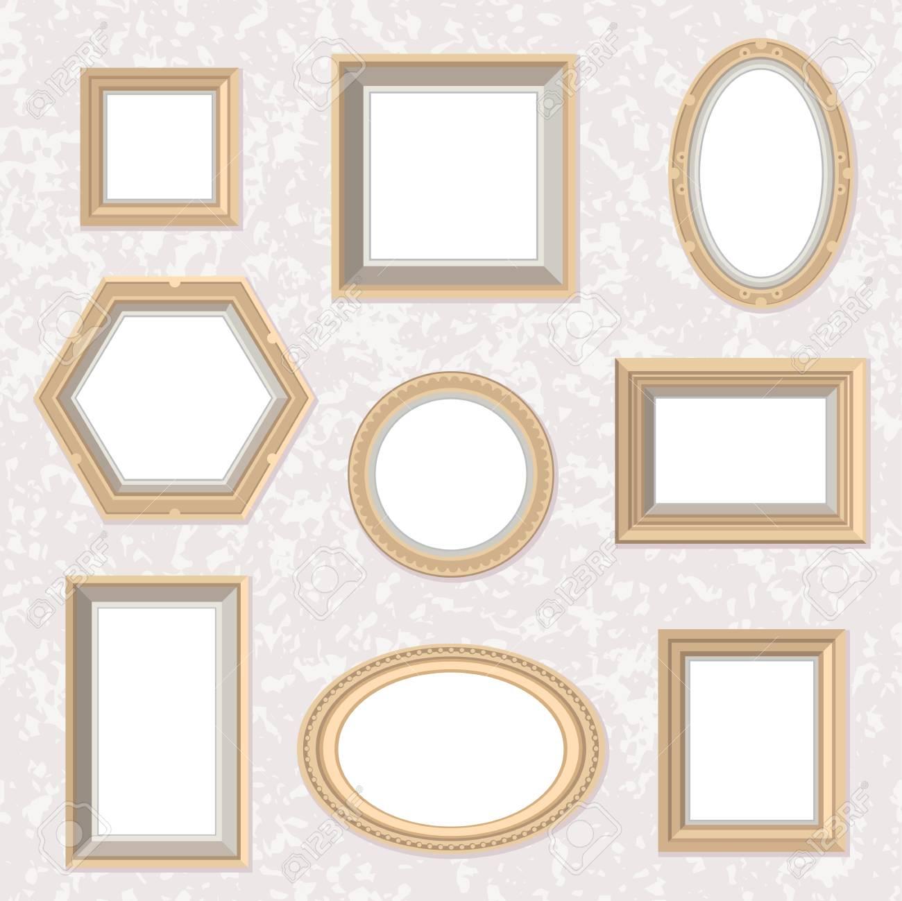 Vector Conjunto De Planos De Estilo De Oro Marcos De Fotos En El ...