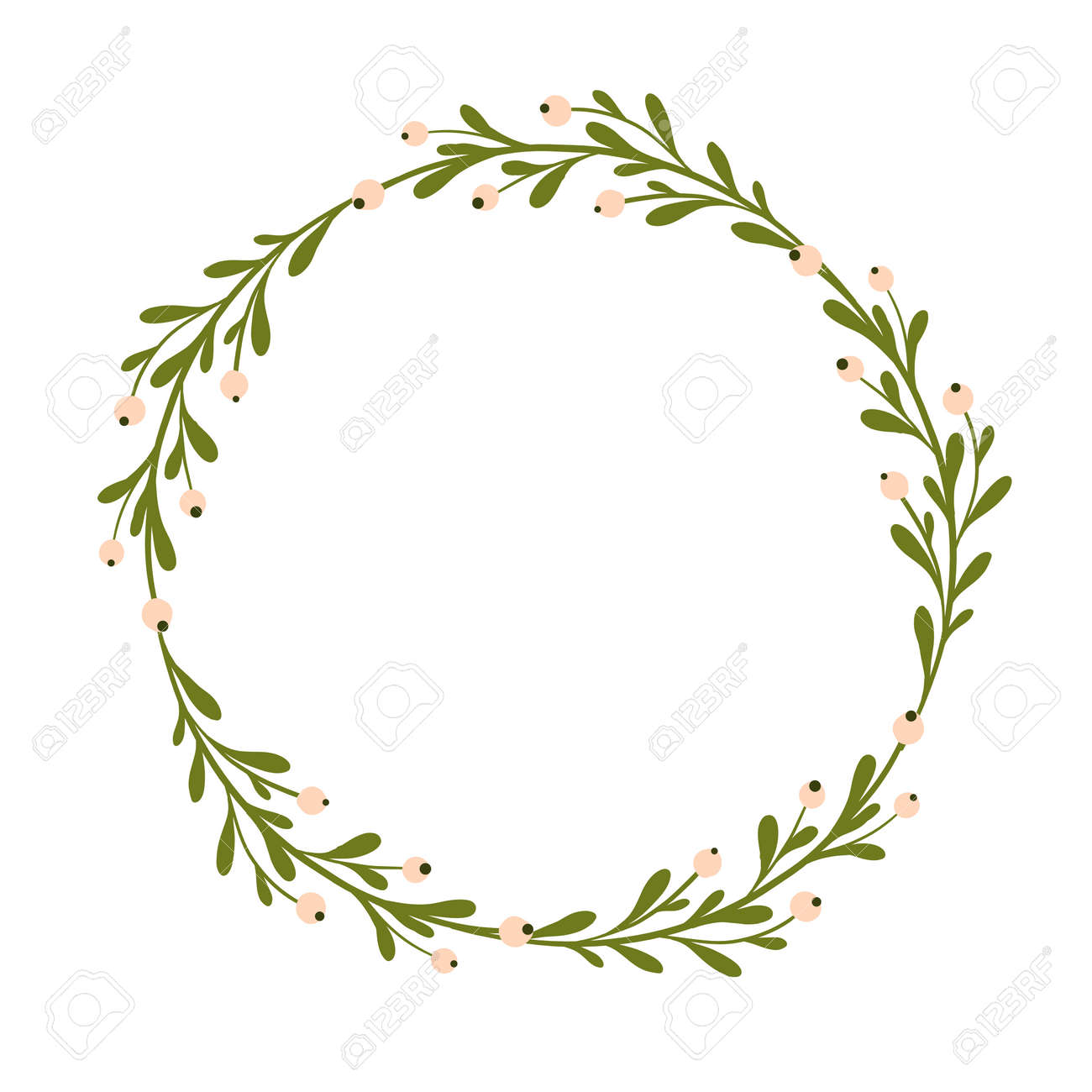 Cute And Gentle Handsketched Mistletoe Wreath Seasonal Background Decor Seasons Greetings