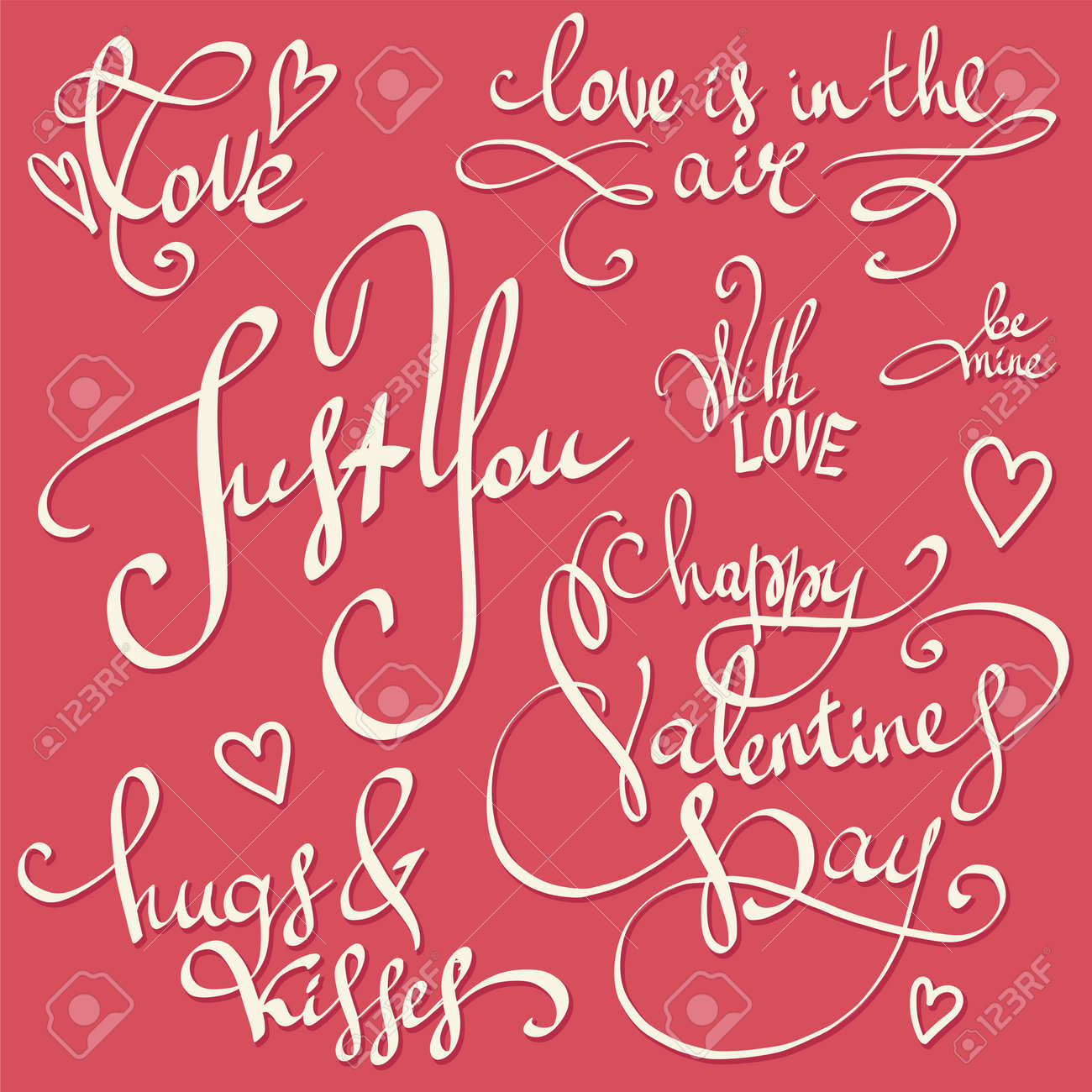 Happy Valentine\'s Day Lettering Vector Set. Valentine Decorations ...