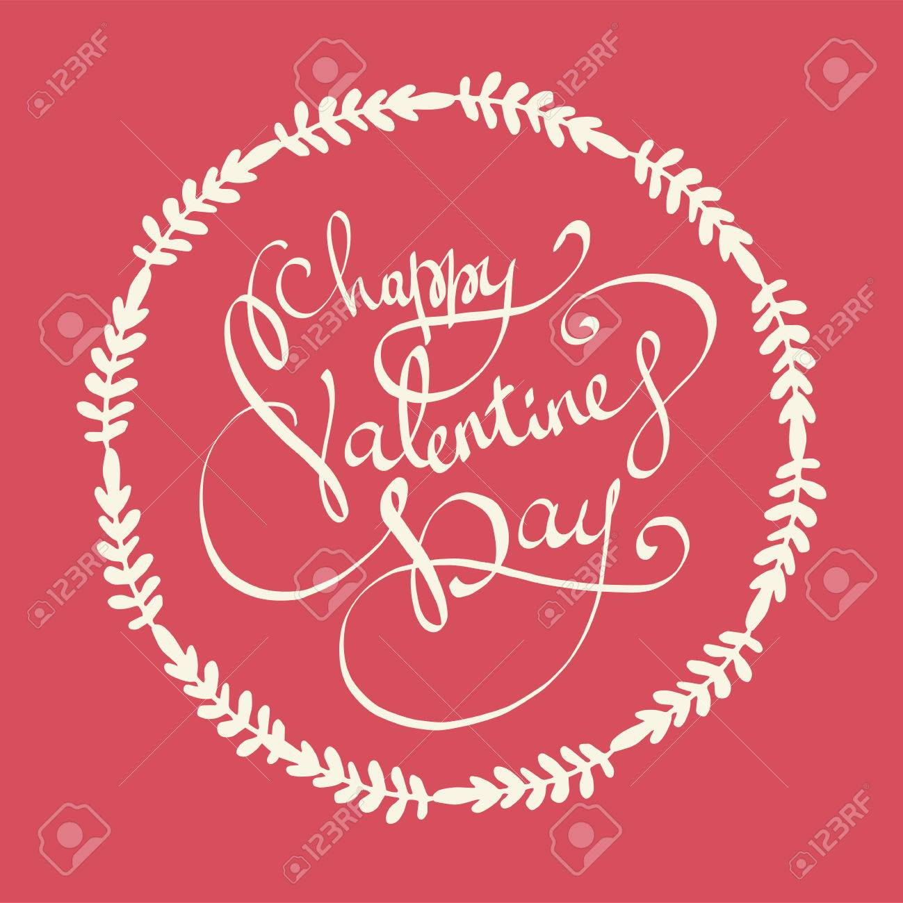 Happy Valentines Day Lettering Vector Background Valentine