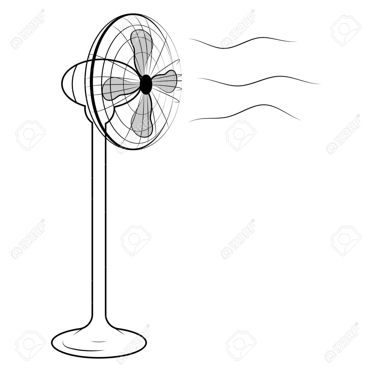 Vector Illustration Of Black Air Fan On White Background Royalty ... for Fan Clipart Black And White  303mzq