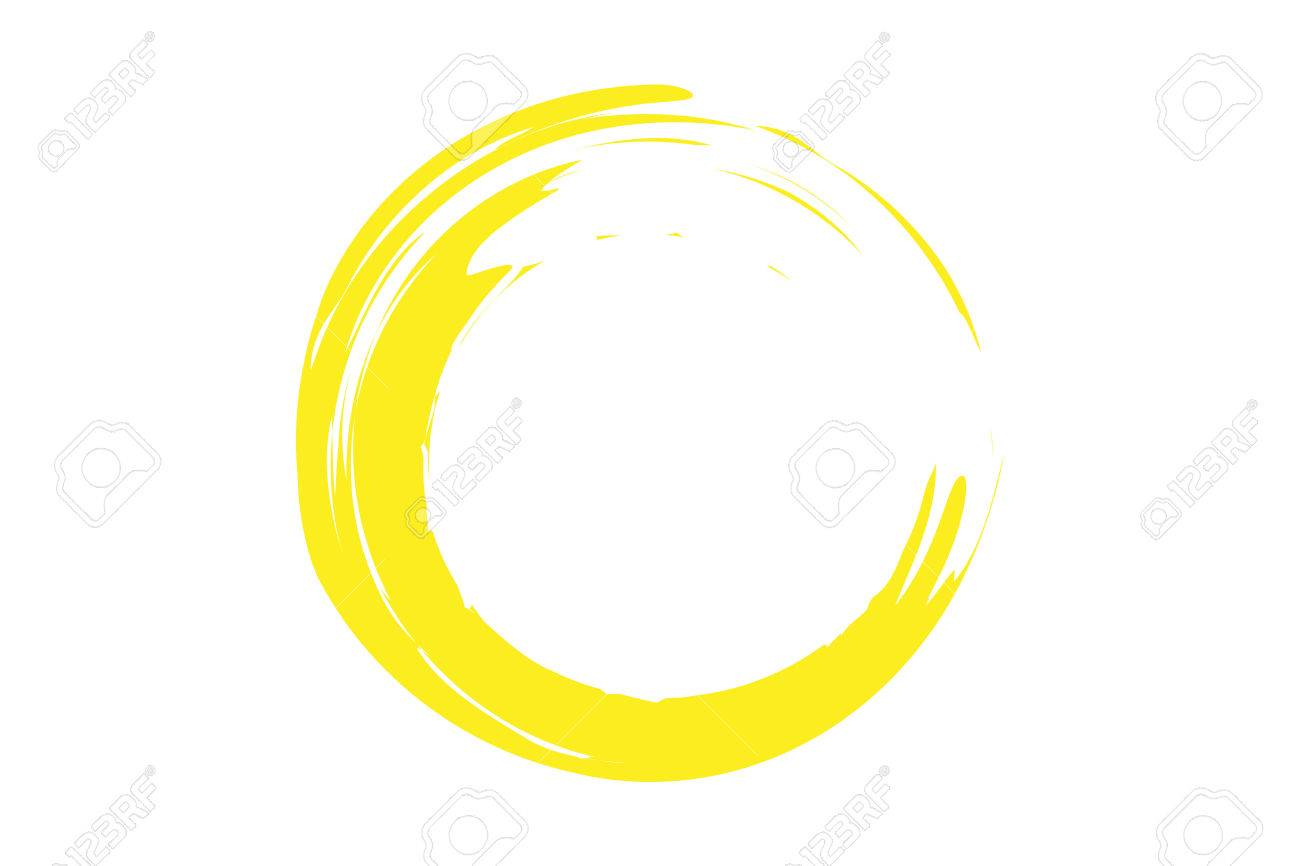 yellow circle illustration in rough paint strokes zdjęcia royalty