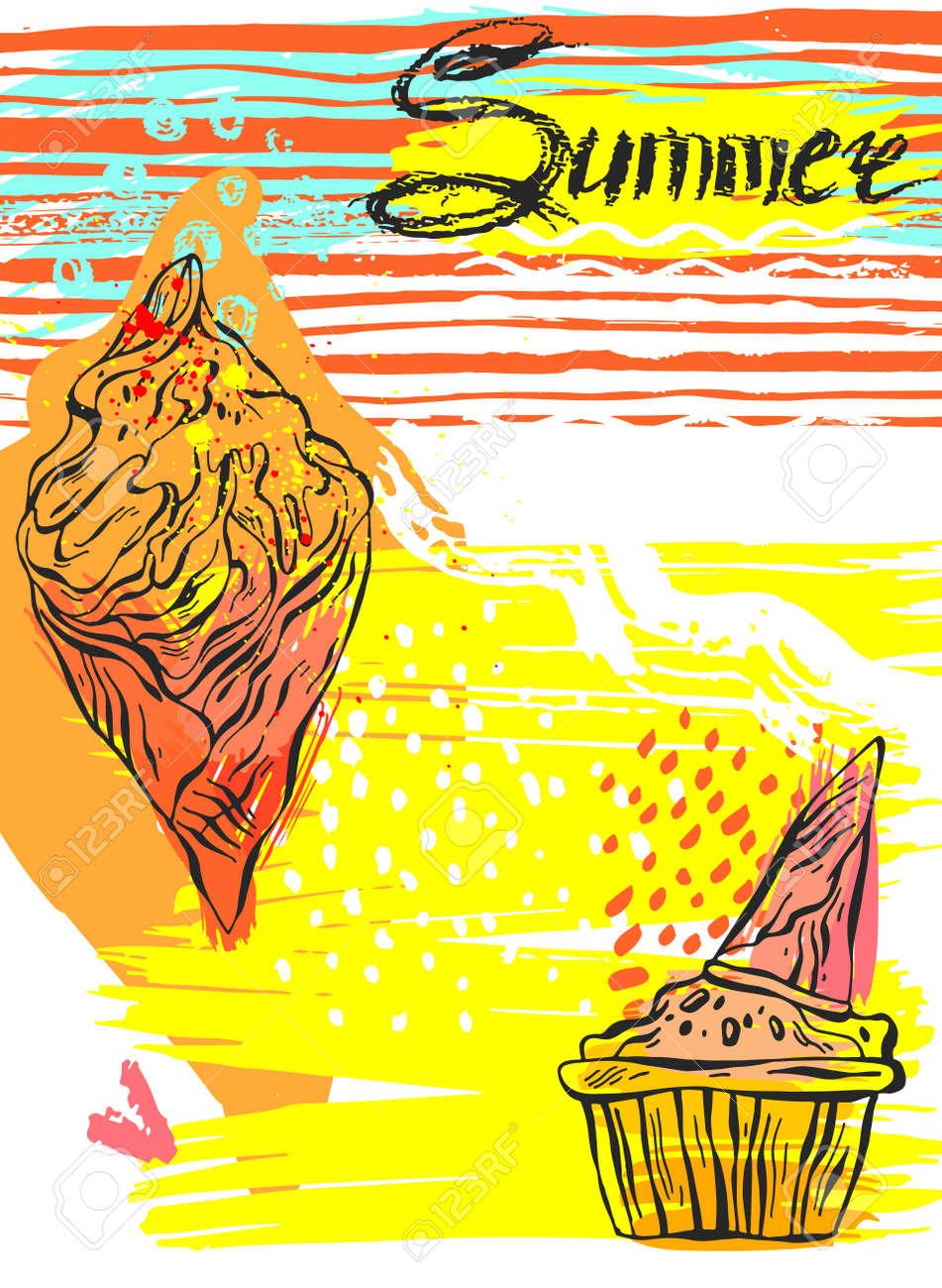 Design poster ice cream - Hand Drawn Textured Ice Cream Summer Card Design For Ice Cream Cafe Ice Cream