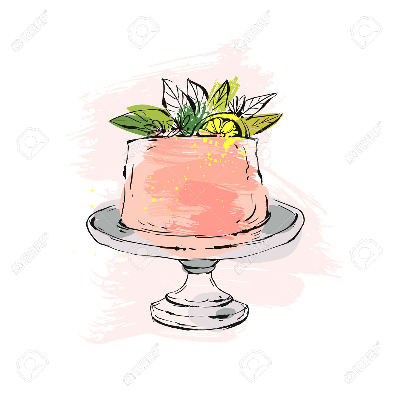 Hand drawn vector abstract watercolor textured cake on cake stand with lemon,flowers and leaves in peach colors isolated on white background.Wedding, art,anniversary,birthday,save the date,cake shop - 78021714