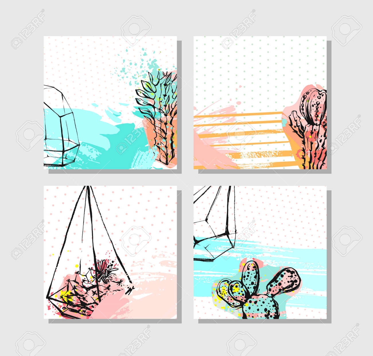 Vector abstract save the date greeting card collection set templates vector vector abstract save the date greeting card collection set templates with succulentcactus plant in terrarium and freehand texture in pastel color m4hsunfo