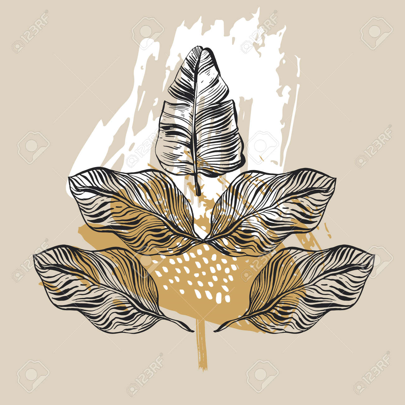 Hand drawn vector abstract graphic tropical xmas mirror print with palm leaves. Stock Vector - 81444053