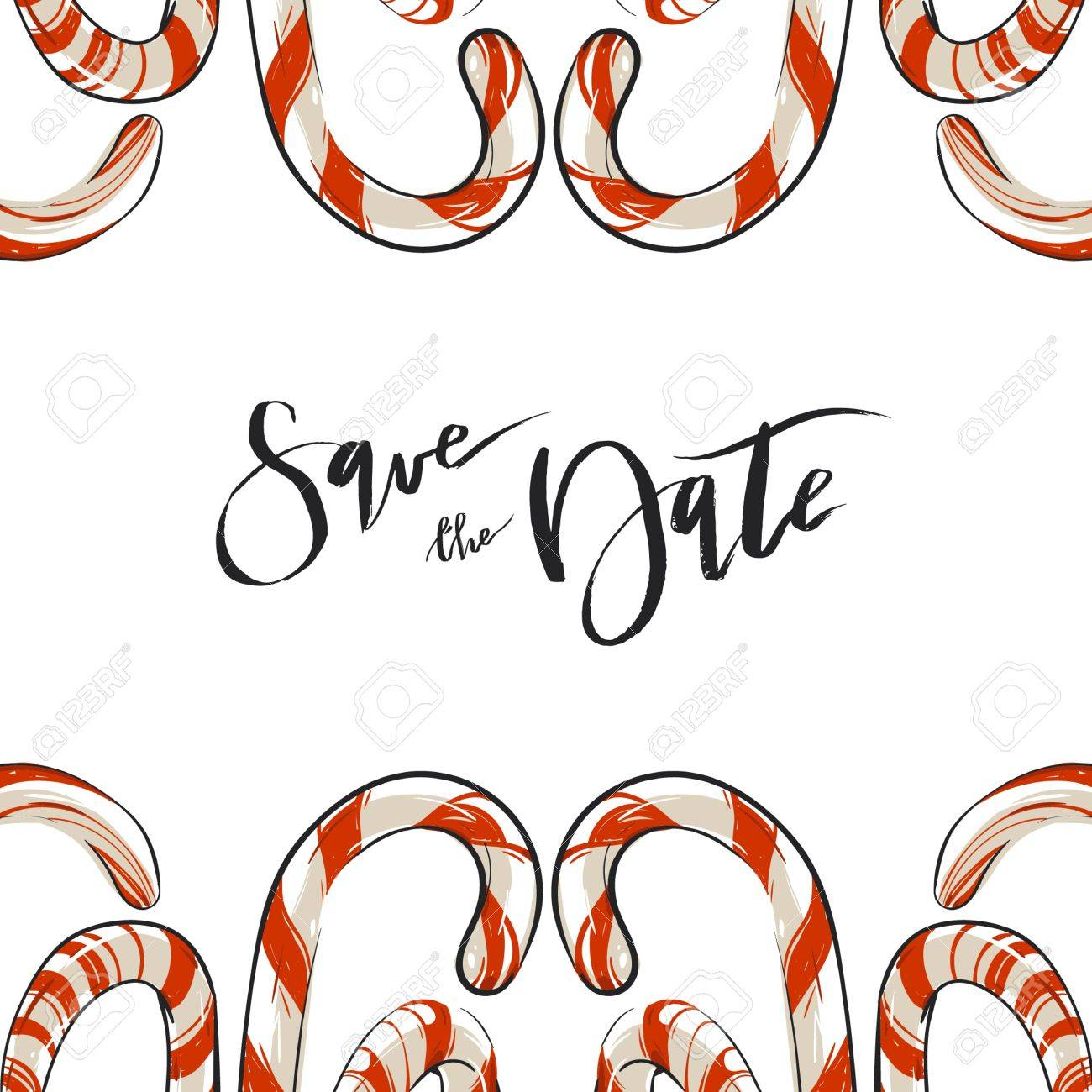 Hand Drawn Vector Abstract Christmas Greeting Save The Date Card ...
