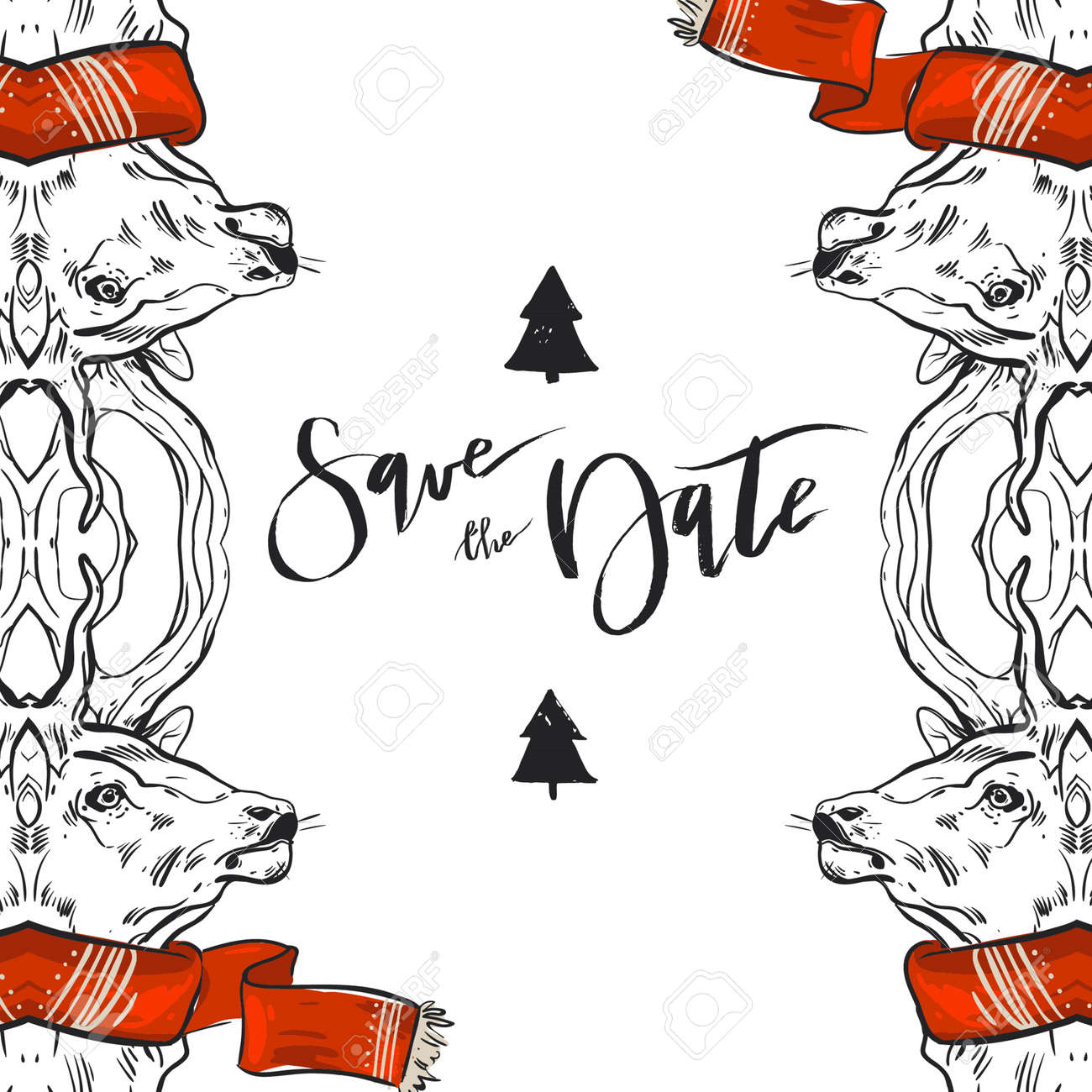 Christmas Save The Date.Hand Drawn Vector Graphic Merry Christmas Save The Date Greeting
