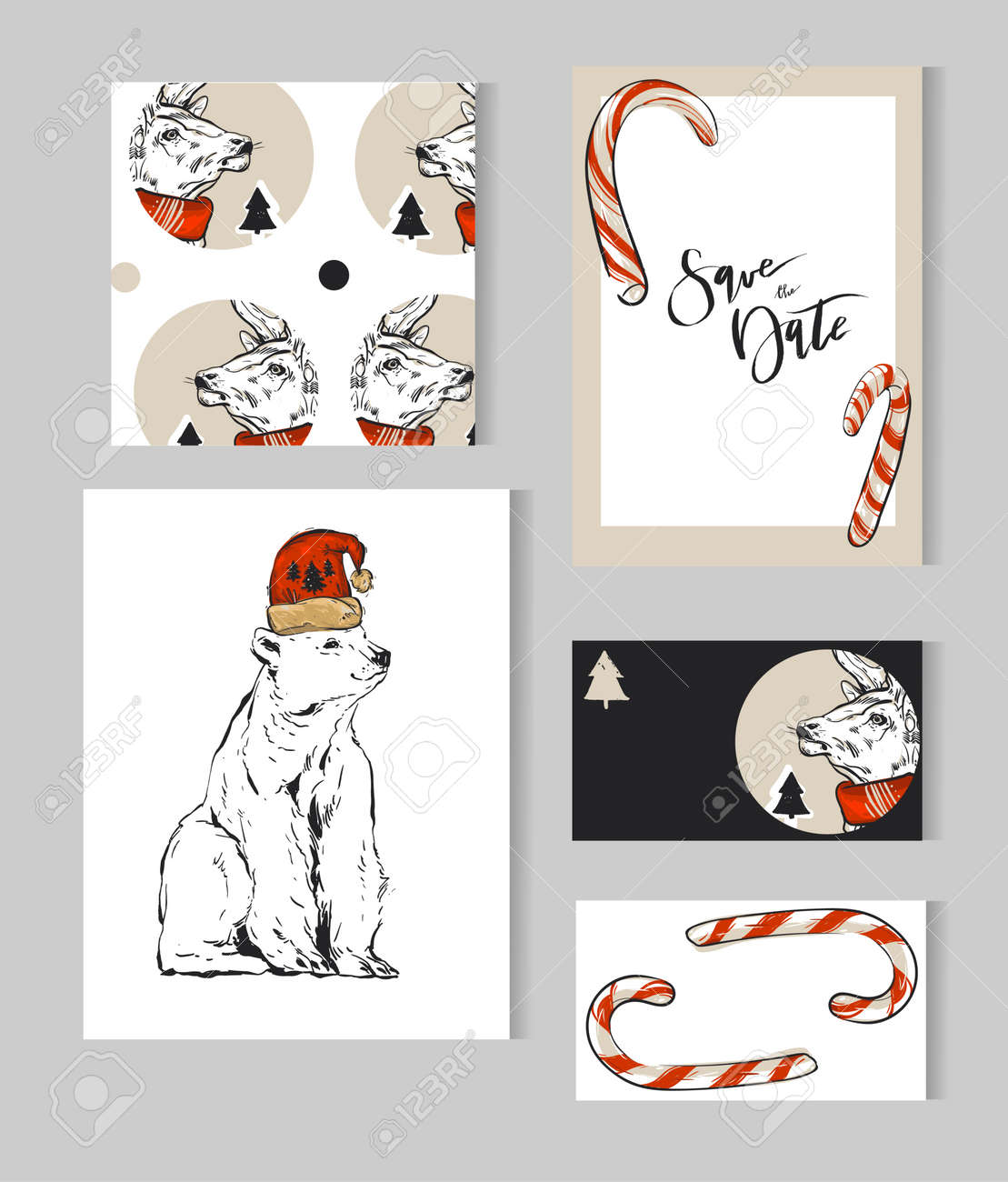 Hand Drawn Vector Abstract Merry Christmas Greeting Cards Template ...