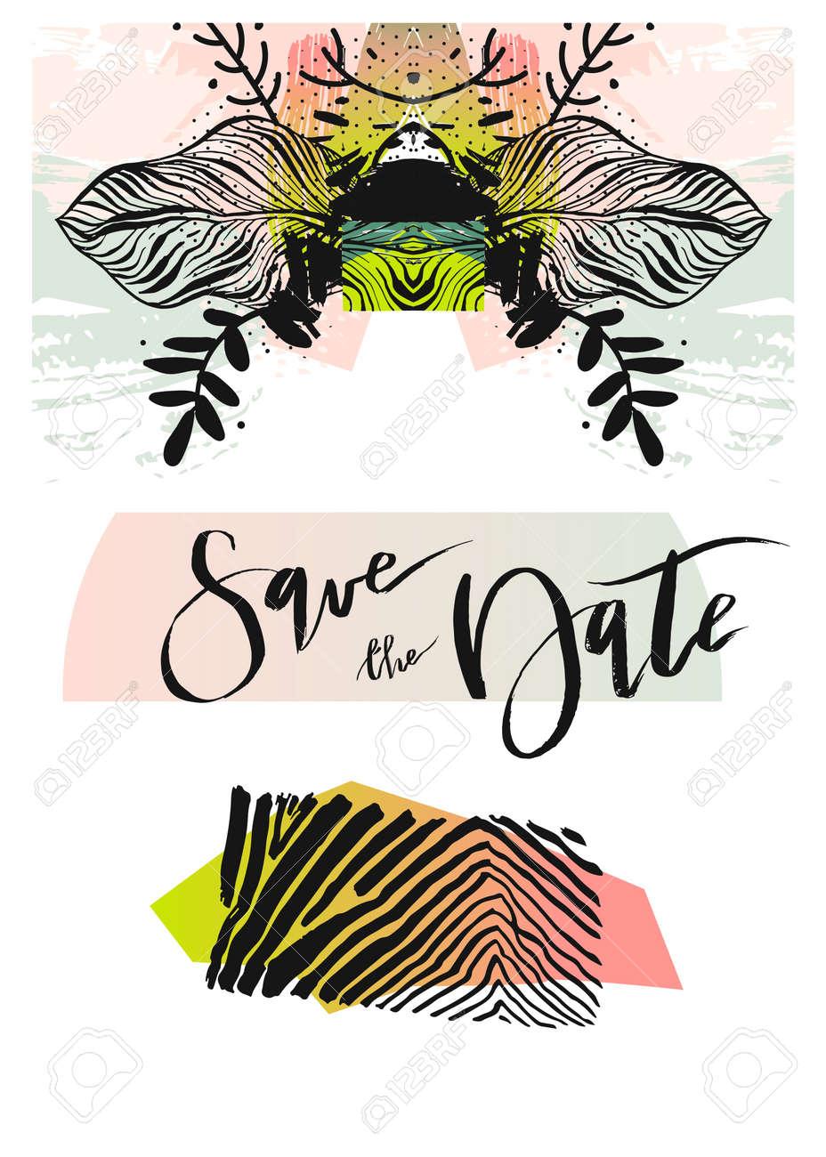 Wedding Invitation Card Tropical Flowers Background Banana