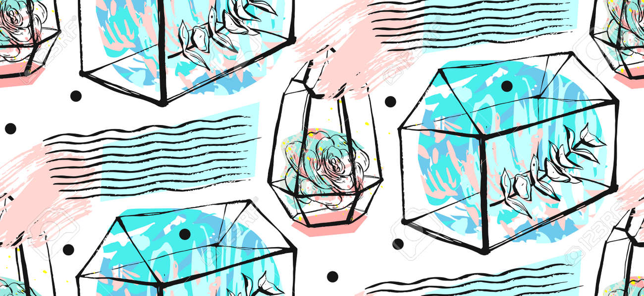 Terrarium Seamless Pattern Succulents Texture Hand Drawn Minimalistic Royalty Free Cliparts Vectors And Stock Illustration Image 81511805