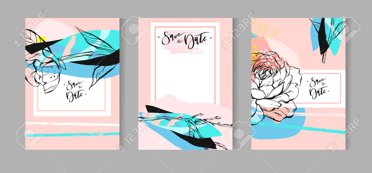 Set of artistic creative universal cards. Hand Drawn textures. Wedding, anniversary, birthday, Valentine s day, party. Design for poster, card, invitation, placard, brochure, flyer. Vector. Isolated. - 81521913
