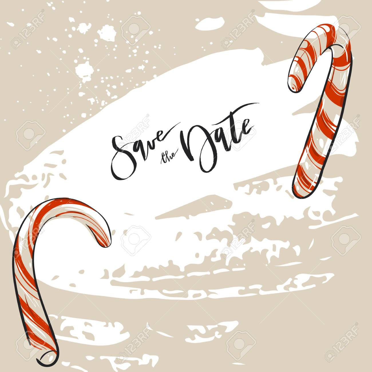 Christmas Save The Date.Hand Drawn Abstract Christmas Decoration Save The Date Greeting