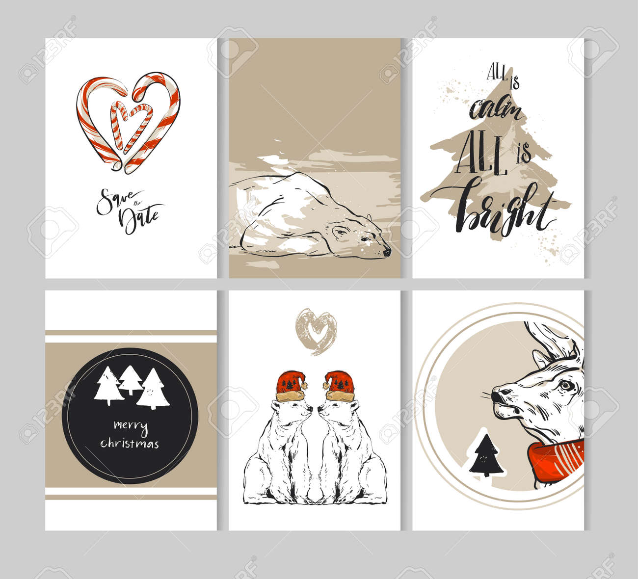Hand Drawn Abstract Merry Christmas Greeting Cards Template ...