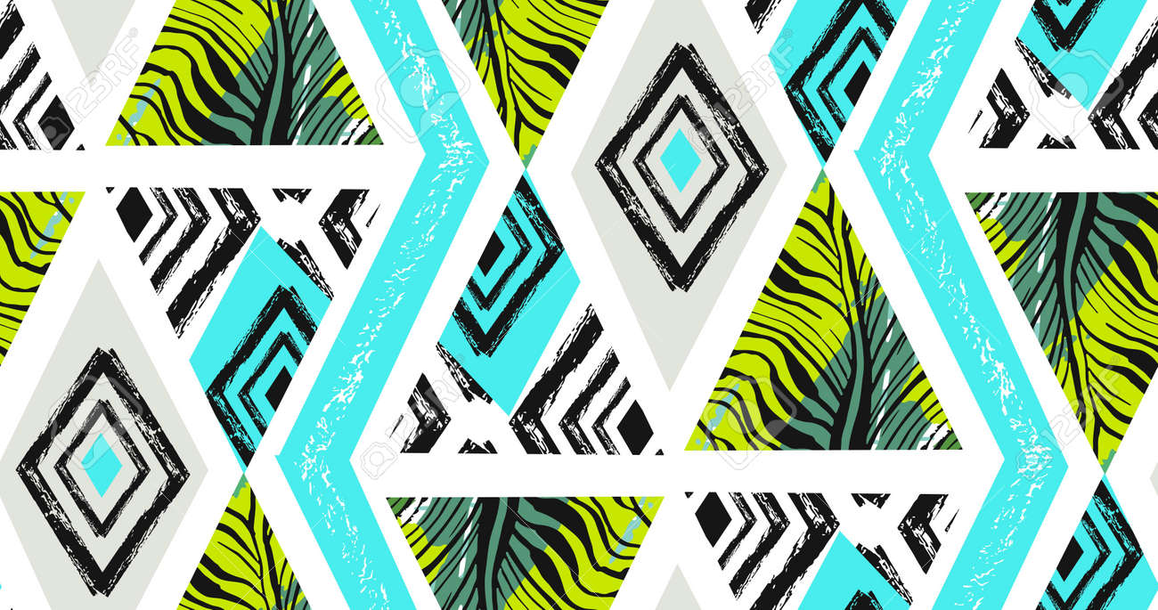 Hand drawn vector abstract freehand textured seamless tropical pattern collage with zebra motif,organic textures,triangles isolated on white background. - 84955649