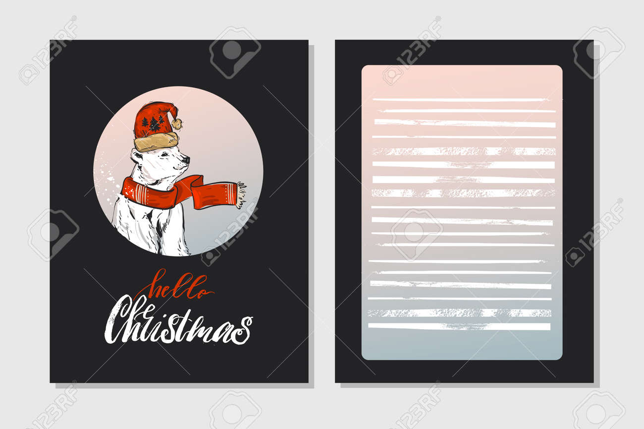 hand made vector merry christmas greeting cards set with cute