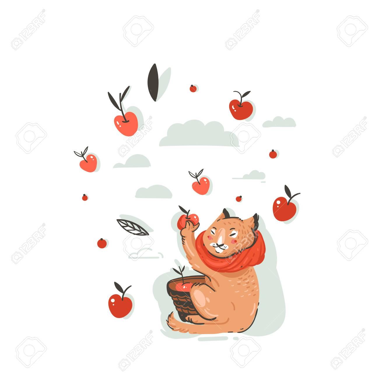 手描画ベクトル抽象的漫画秋イラストかわいい猫のキャラクターとの
