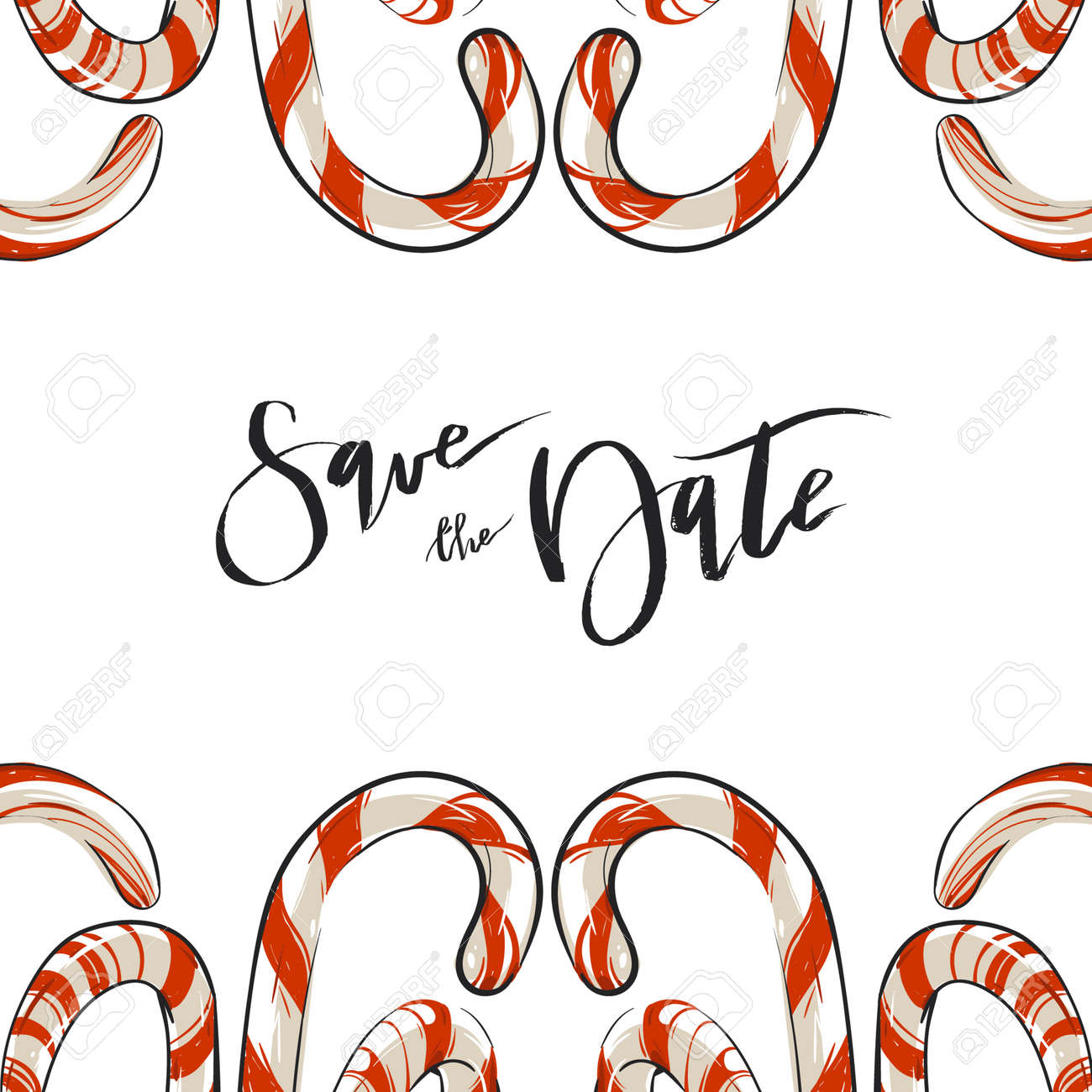 Christmas Save The Date.Hand Drawn Vector Abstract Christmas Greeting Save The Date Card