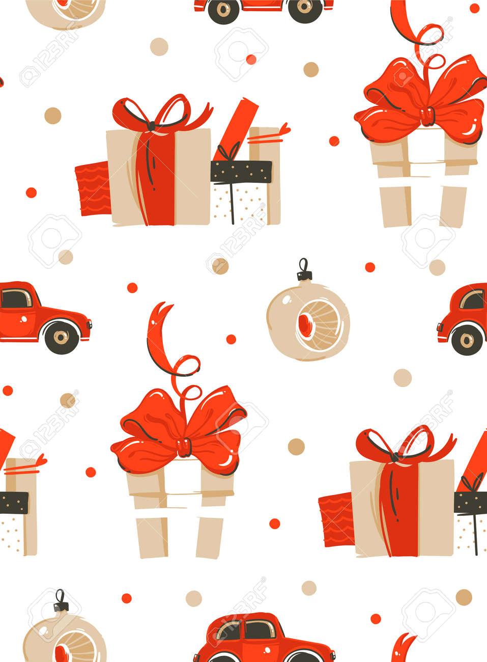 Cajas De Regalo De Navidad Retro. Patrón Sin Costuras Ilustraciones ...