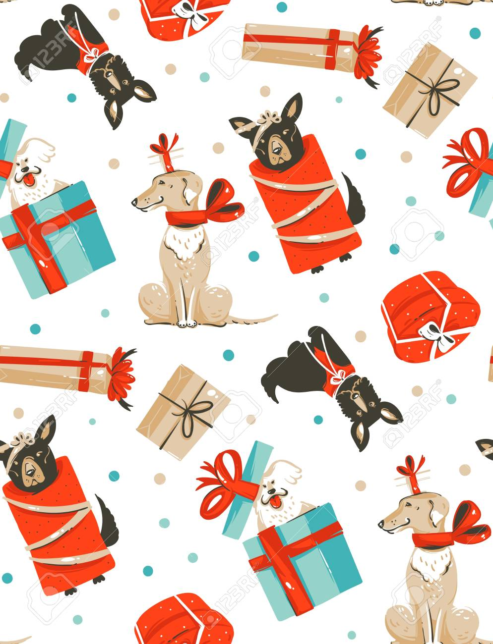 Hand drawn vector abstract fun Merry Christmas time cartoon illustrations seamless pattern with cute funny mammal dogs in vintage Christmas gifts boxes isolated on white background - 88534412