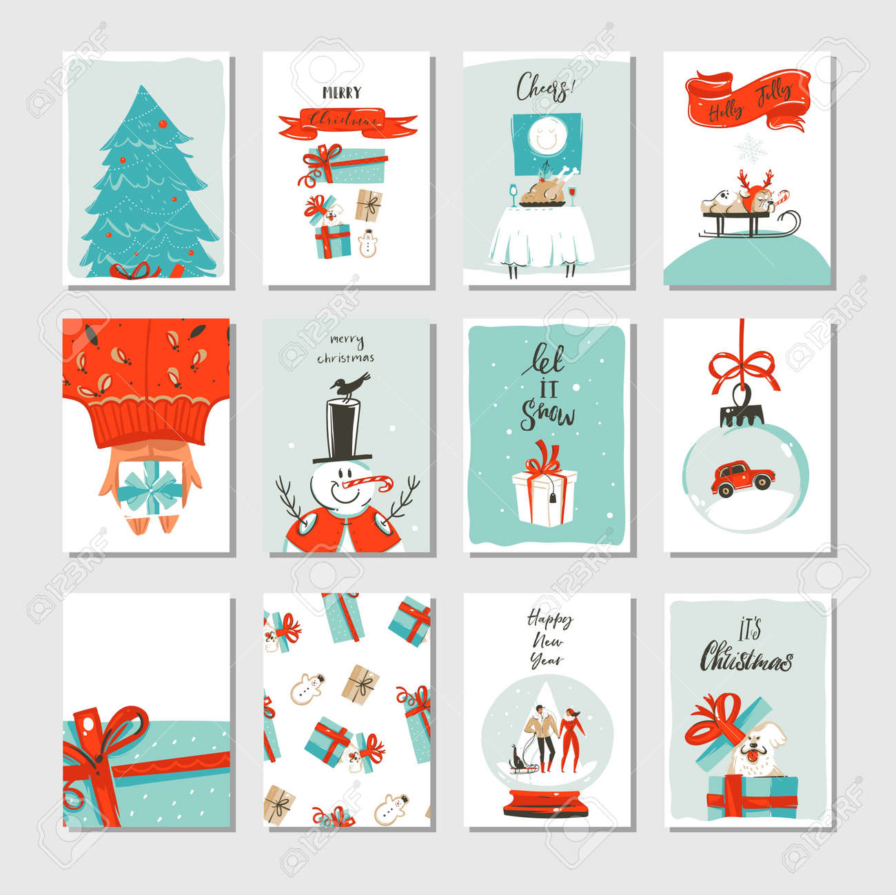 Hand drawn vector abstract fun Merry Christmas time cartoon cards collection set with cute illustrations,surprise gift boxes ,Xmas tree and modern calligraphy isolated on white background - 89963467