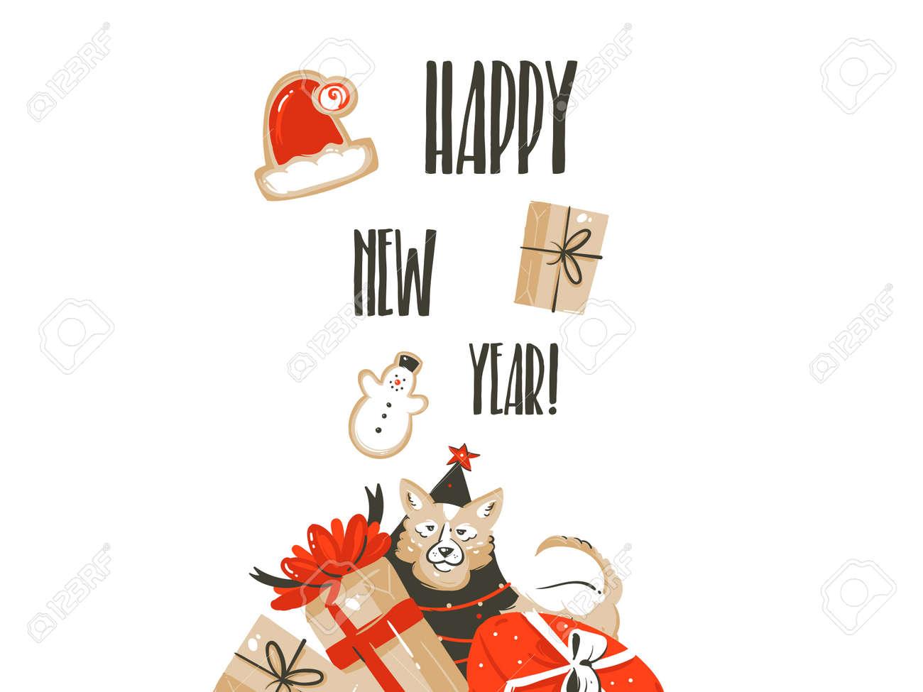 Vecteur Dessine A La Main Joyeux Noel Shopping Temps Dessin Anime