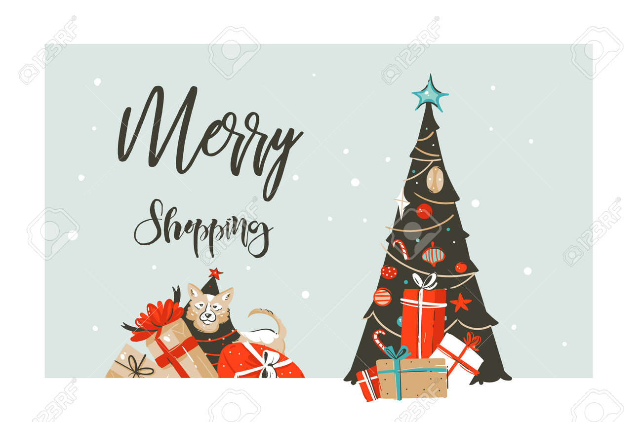 Hand drawn vector Merry Christmas shopping time cartoon graphic simple greeting illustration logo design with dog,many surprise gift boxes and calligraphy Merry Shopping isolated on white background - 90337589