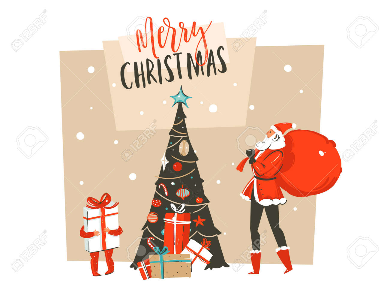 Diversao Abstrata De Mao Desenhada Vector Feliz Natal Tempo