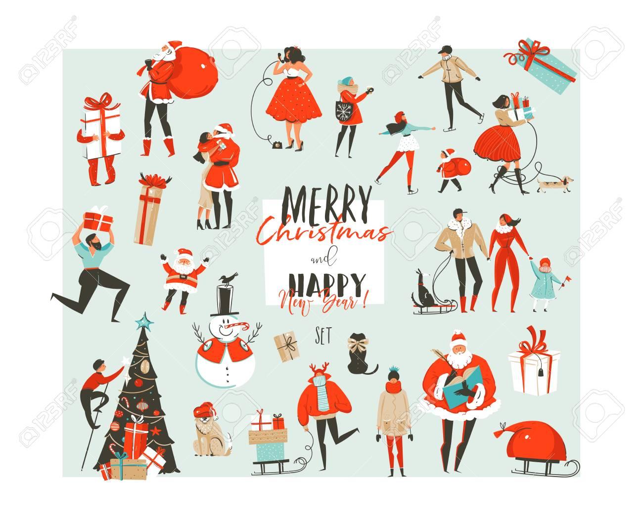 Resumo De Mao Desenhada Vetor Feliz Natal E Feliz Ano Novo Tempo