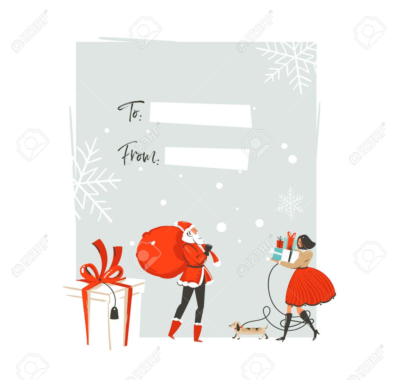 Dibujado A Mano Vector Abstracto Feliz Navidad Y Feliz Año Nuevo ...
