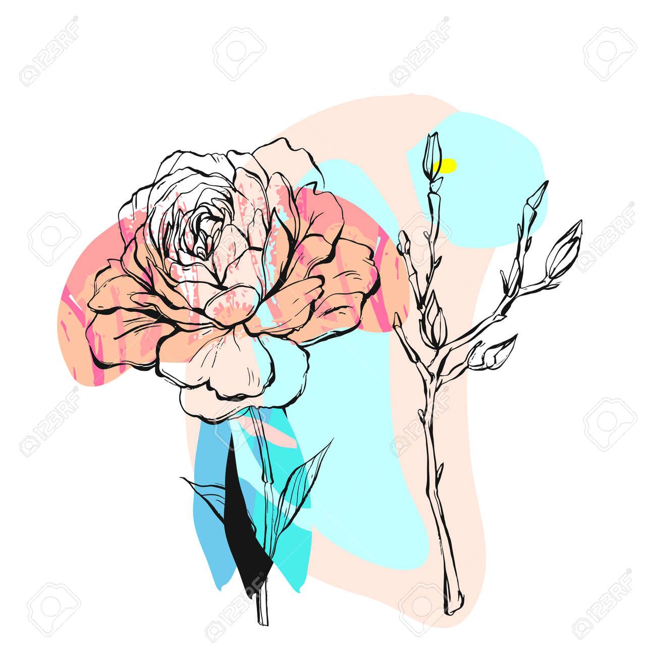 Dessinés à La Main Vecteur Abstraite Créative Abstraite Illustration Avec Des Fleurs De Pivoine Graphique Et Des Branches Dans Des Couleurs Pastel