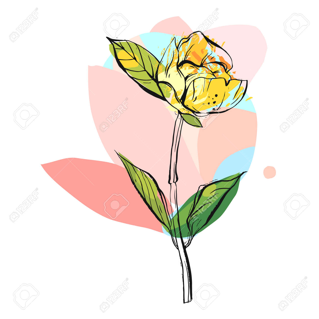 Hand Drawn Vector Abstract Creative Graphic Colorful Flower Illustration Isolated On White BackgroundUnusual Universal