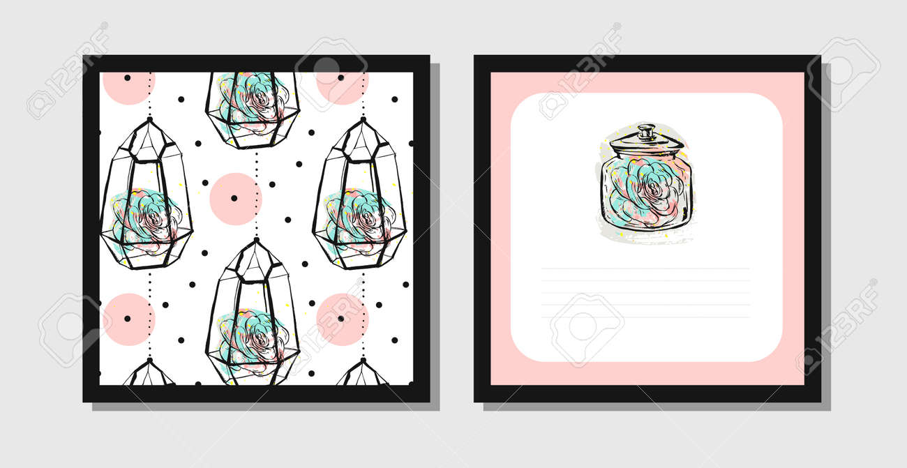 Hand Drawn Vector Abstract Creative Unusual Postcards Or Save