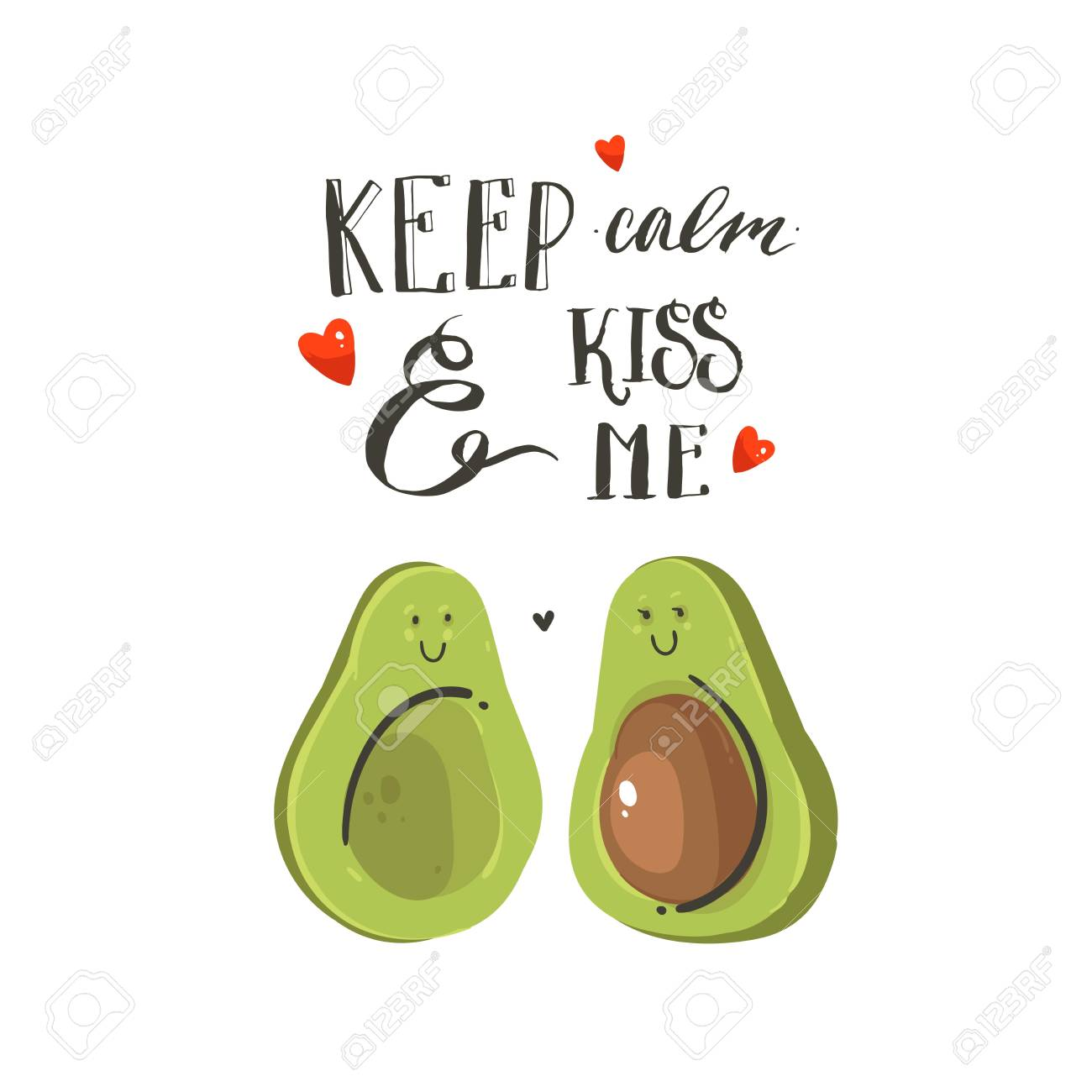 Hand drawn vector abstract cartoon Happy Valentines day illustrations card with avocado couple, hearts and handwritten modern ink calligraphy text keep calm and kiss me. Isolated on white background. - 96282817