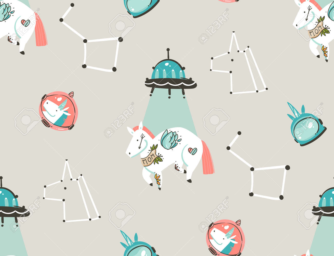 Hand drawn vector abstract graphic creative artistic cartoon illustrations seamless pattern with astronaut unicorns with old school tattoo,stars,planets and spaceship isolated on pastel background - 99286191