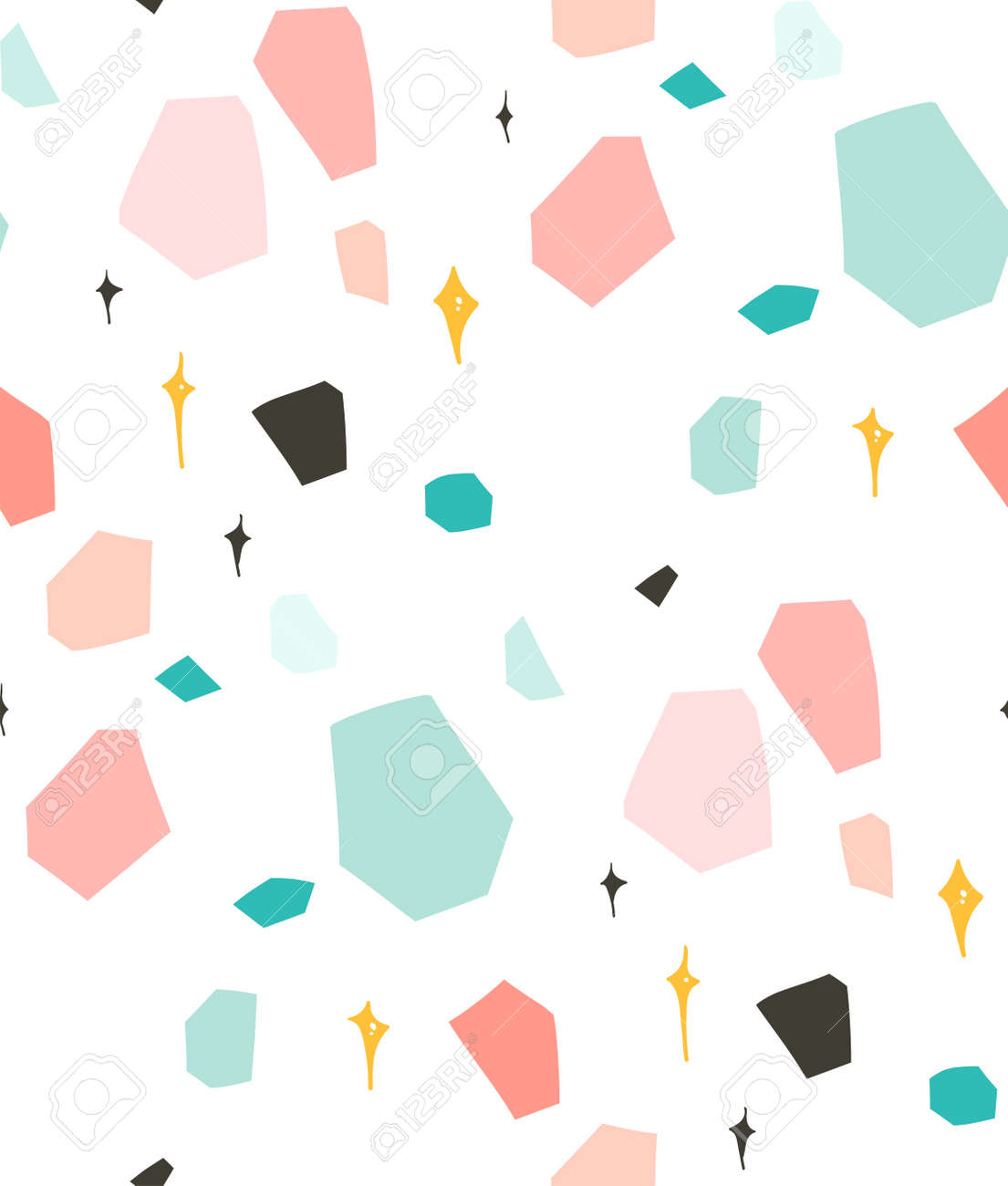 Hand drawn vector abstract graphic simple terrazzo collage seamless pattern isolated on white background. - 100121546