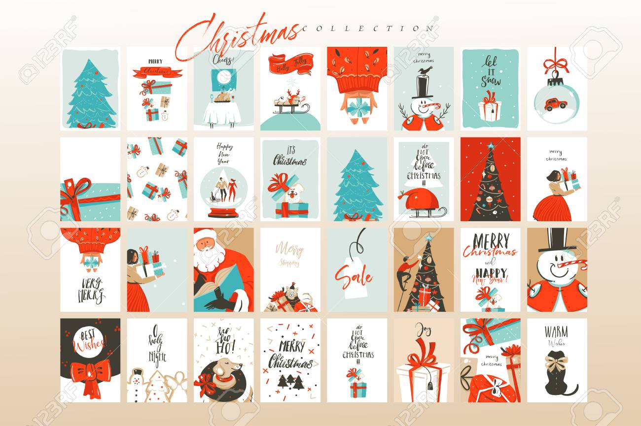 Hand drawn vector abstract fun Merry Christmas time cartoon illustrations greeting cards template and backgrounds big collection set with gift boxes,people and Xmas tree isolated on white background. - 113557782