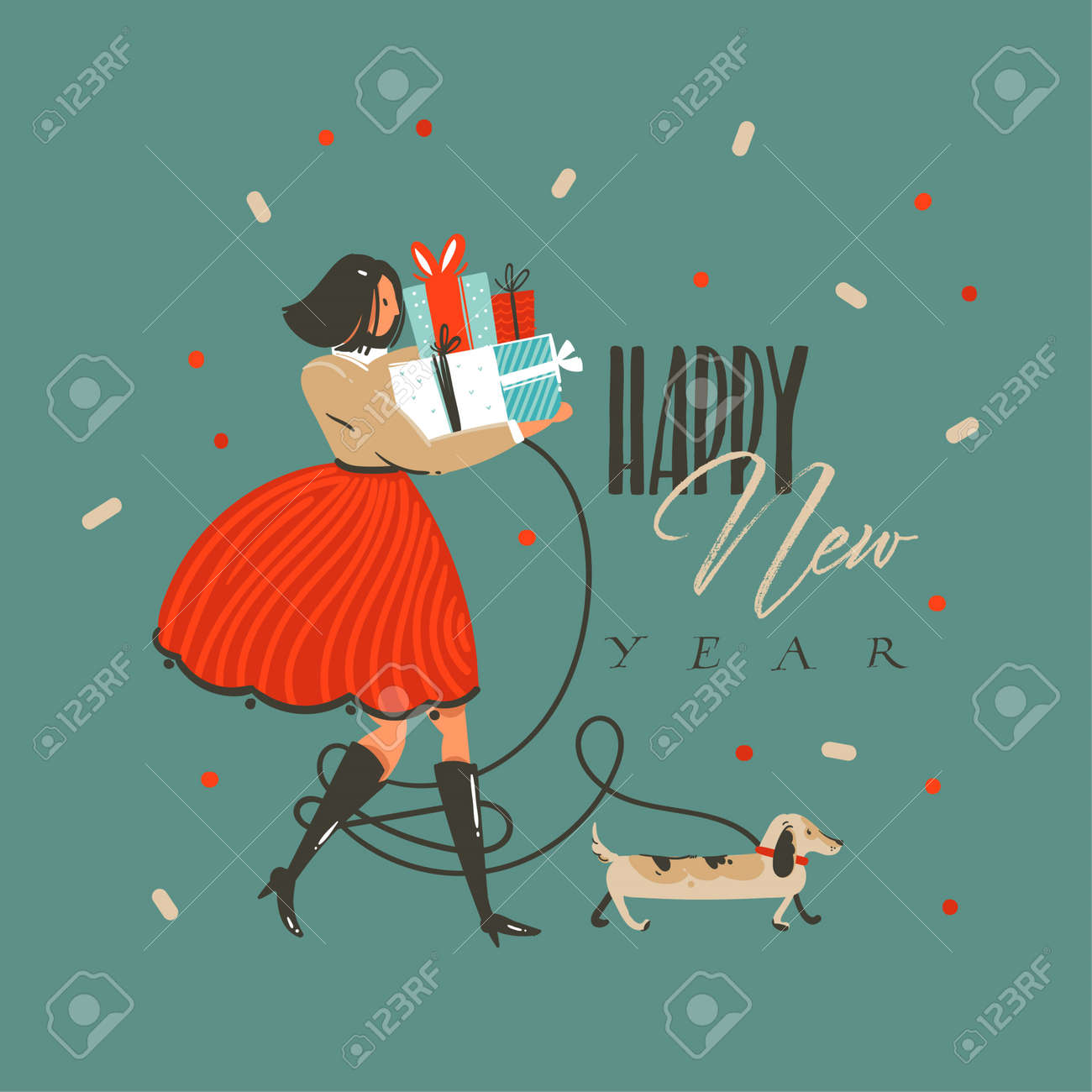 Hand drawn vector abstract fun Merry Christmas and Happy New Year time cartoon illustration greeting card with funny dog,girl with presents and Happy New Year text isolated on green background. - 112738612