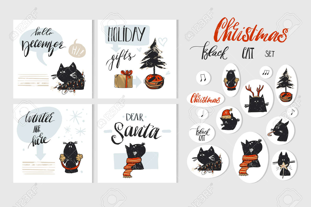 Hand drawn vector abstract Merry Christmas and Happy New Year time cartoon illustration greeting cards collection set with xmas cats and Christmas stickers isolated on white background. - 112897303