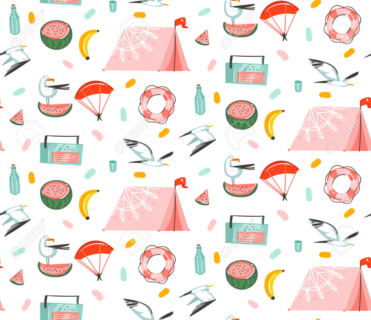 Hand drawn vector abstract cartoon summer time graphic illustrations artistic seamless pattern with beach gull birds,camping tent,watermelon and banana fruits isolated on white background. - 116304045
